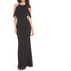 Lulus Black Pearl Neckline Gown / Prom Dress Sz M